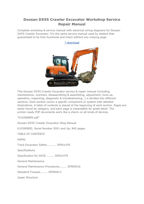 ... Array - doosan daewoo dx55 excavator parts catalogue pdf manual rh  catexcavatorservicerepairmanual ...