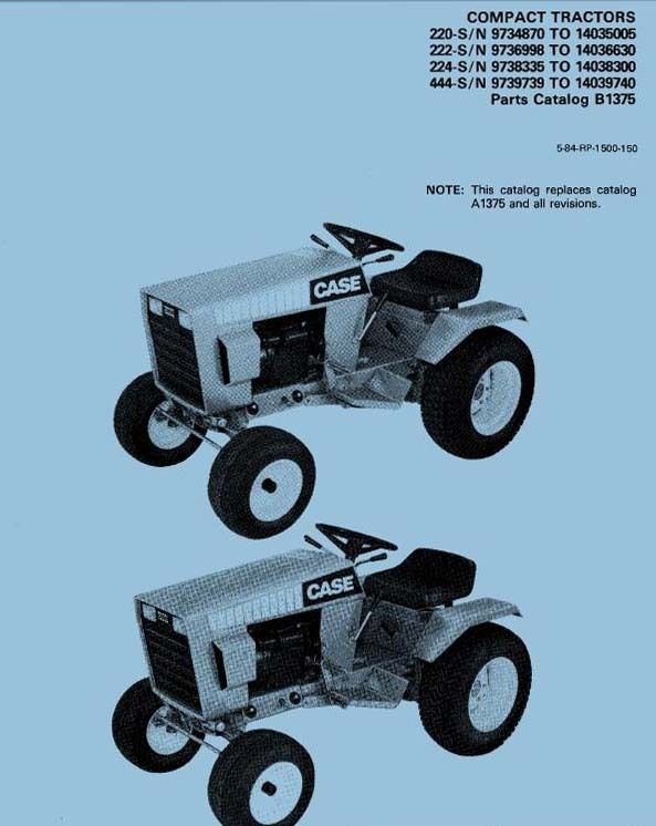 Case Ingersoll 220 222 224 444 Parts Manual For Compact Tractor  U2013 Crawler