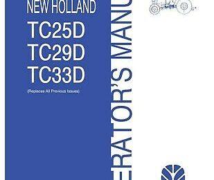 New Holland TC25d Tc29d Tc33d Tractor Operator Maintenance Manual